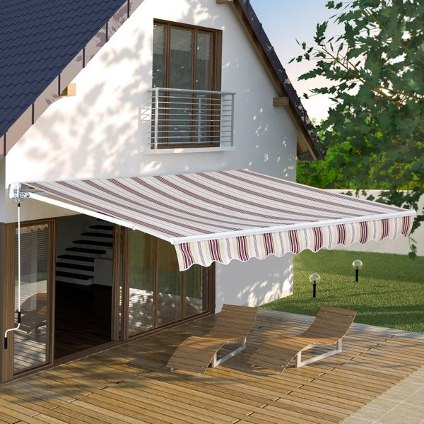 Outsunny 10'X8' Manual Retractable Patio Awning Red stripe|AOSOM.CA