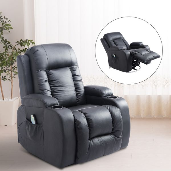 HOMCOM Faux Leather Heated Vibrating Massage Recliner Chair with Remote Black|AOSOM.CA