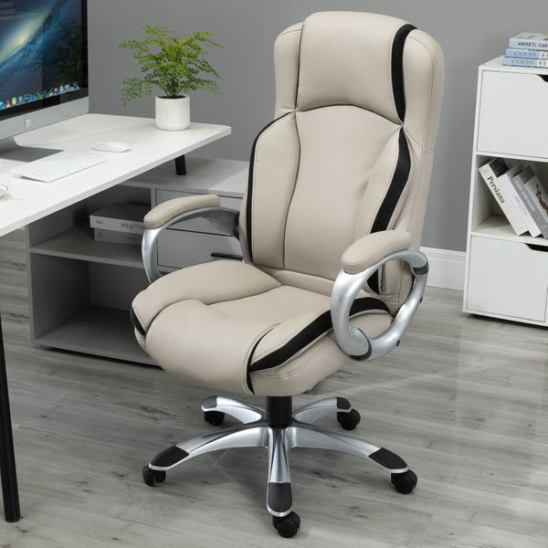 Vinsetto Task PU Office Chair Height Adjustable High Comfort Tilt Swivel Black and White