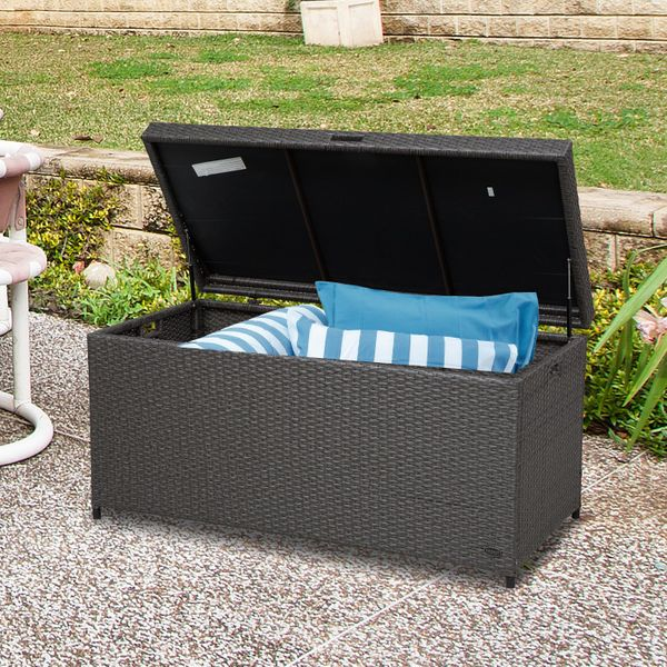 Outsunny Outdoor Plastic Rattan Storage Basket Large Capacity Stool Garden Rectangle Box