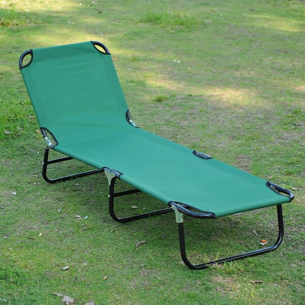 Outsunny Folding Portable Beach Lounge Chair Reclining Patio Garden Sun Lounger Bed Camping Cot Green | Aosom Canada