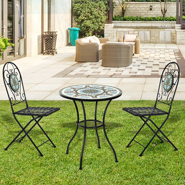 Outsunny 3pc Bistro Mosaic Set Dining Outdoor 2 Seater Folding Chairs Patio Furniture  Table | Aosom Canada