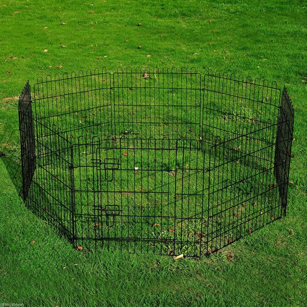 """PawHut 30"""" Metal Pet Playpen 8-Panel Indoor Outdoor Exercise Dog Pen Cage Crate Puppy Cat Rabbit Fence Yard Kennel Black
