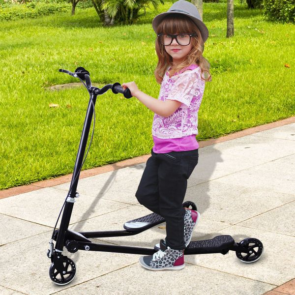HOMCOM Toddler 3 Wheel Scooter Tri Scooter Kid Foldable Speeder Slider Children Winged Push Motion Black |Aosom Canada
