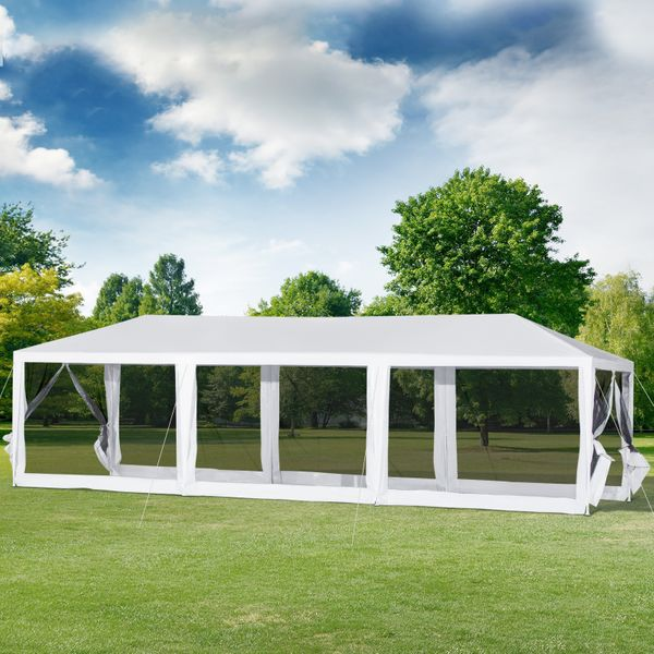 Outsunny 10'x30' Gazebo Wedding Party Tent Outdoor Canopy Garden Sun Shade with Mosquito Mesh Netting