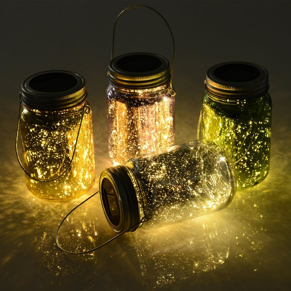 Outsunny 4-Pcs Glass Jar String Light w/ Handle Portable LED Multi Color|AOSOM.CA
