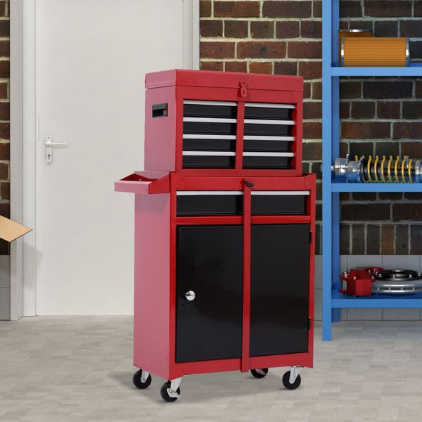 HOMCOM 40-Inch 2-in-1 Rolling Tool Cart Wheeled Storage Cabinet Organizer with Drawers - Black/Red|Aosom Canada