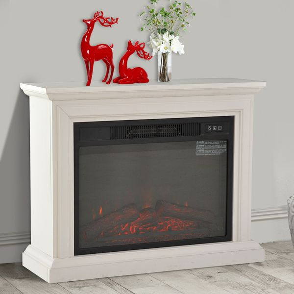 HOMCOM 1400W Freestanding Electric Fireplace LED Wood Fire Realistic Flame Stove Heater, White