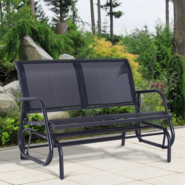 Outsunny Patio Double Glider Bench Swing Chair Heavy-Duty Outdoor Garden Metal Rocking Chair Grey | Aosom Canada