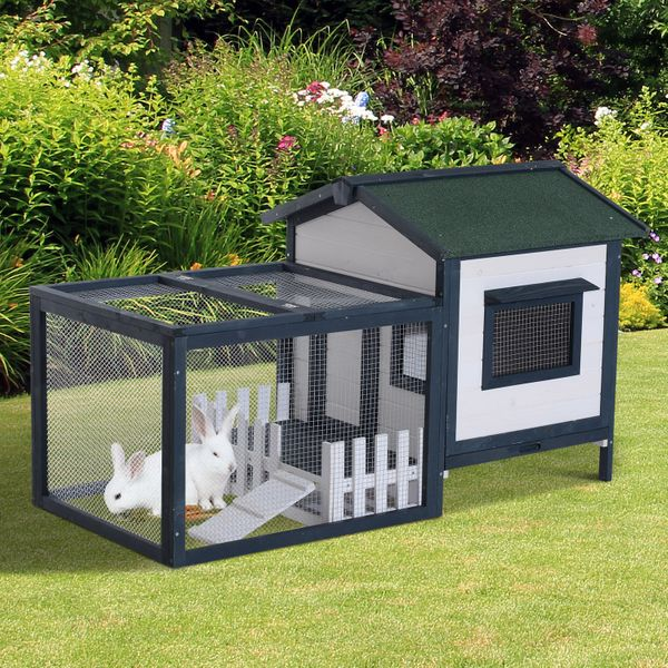 "Pawhut 59"" Wooden Rabbit House Indoor Space Hutch Bunny Cage Pet House Chicken Coop Poultry w/ Fence Run Green/White 