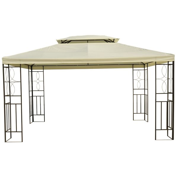 Outsunny 10x13ft Patio Outdoor Canopy Steel Gazebo Vented Roof Cream White|Aosom.ca