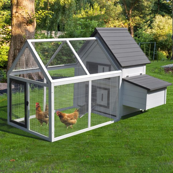 """PawHut 65"""" Wood Outdoor Chicken Coop House with Nesting Box Ramp Run and Ladder Wooden Garden Enclosure 