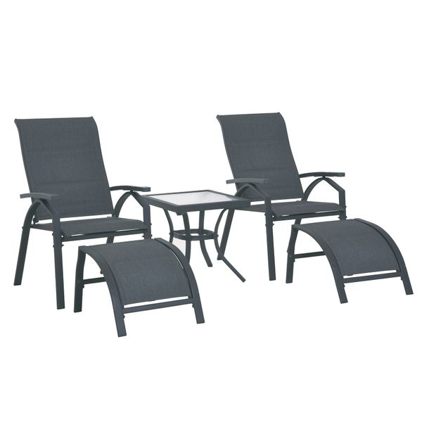 Outsunny 5pcs Outdoor Sling Bistro Set Side Table Porch|AOSOM.CA