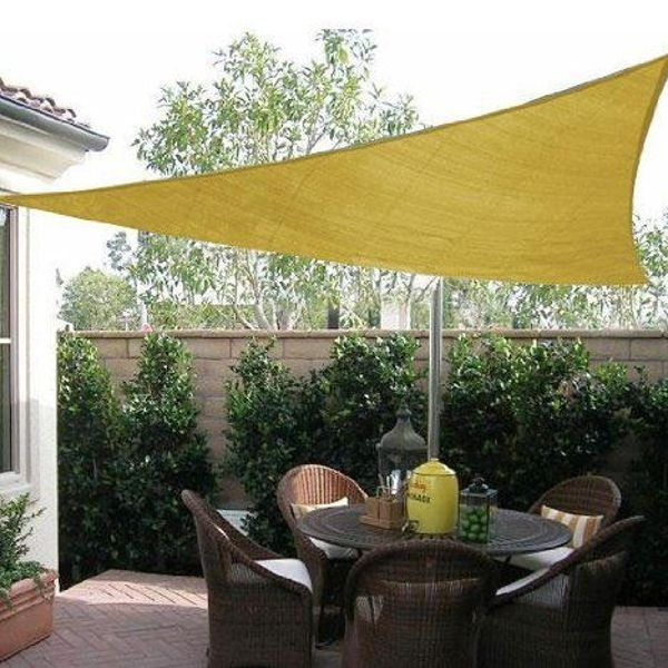 Outsunny Triangle 12' Canopy Sun Sail Shade Garden Cover UV Protector Outdoor Patio Lawn Shelter with Carrying Bag (Sand)|Aosom.ca