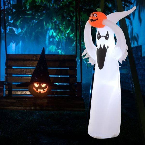 HOMCOM 180cm LED Outdoor Halloween Inflatable Decoration - Ghost with Pumpkin | Aosom Canada