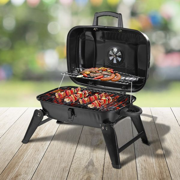 Outsunny Portable Tabletop Charcoal Grill Air Vent Black|AOSOM.CA