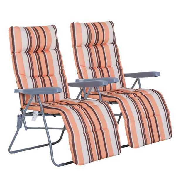 Outsunny Set of 2 Sun Lounger Recliner Cushioned Seat Foldable|AOSOM.CA