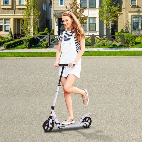 Soozier Teens Adult Kick Folding  Scooter Adjustable Height With Brakes and Kickstand White | Aosom Canada