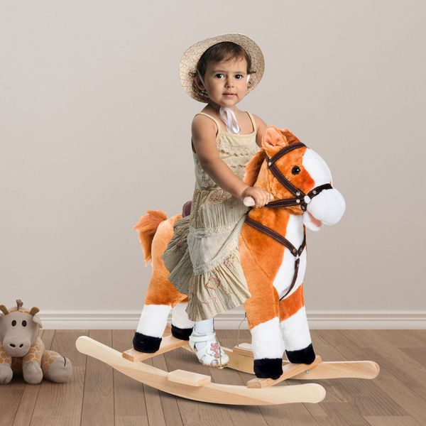 Qaba Kids Plush Rocking Horse Toy Moving Mouth & Tail with Realistic Sound Brown|AOSOM.CA