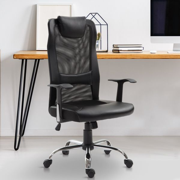 Vinsetto High Back Mesh Office Chair Padded Headrest Home Office Black|AOSOM.CA