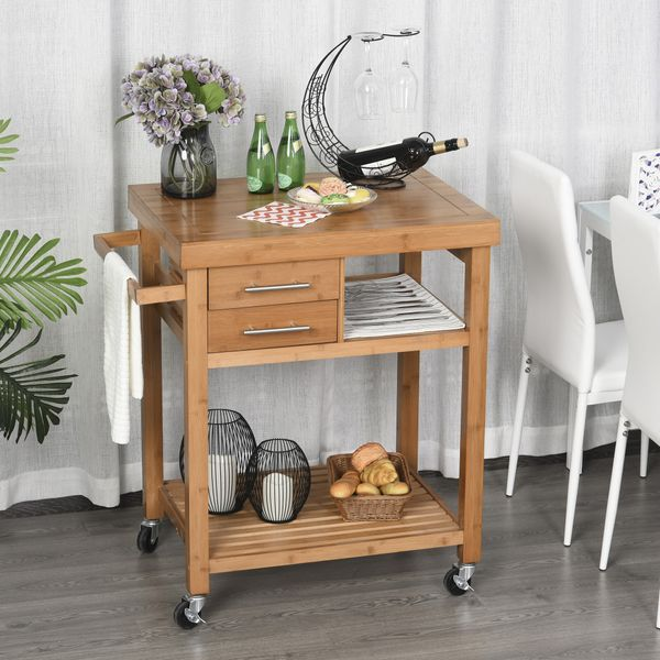 HOMCOM Bamboo Rolling Kitchen Island Trolley with Drawers & Shelves