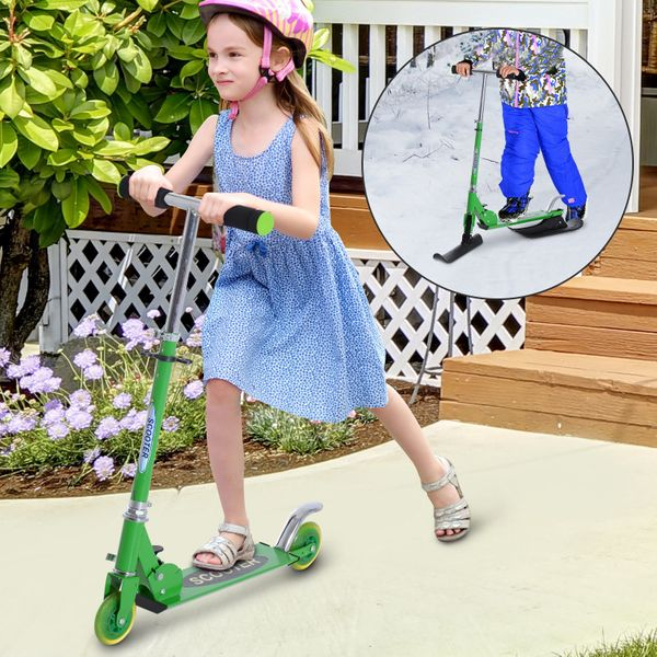 Soozier 2-in-1 Convertible All-weather Scooter Snow Street Amphibious w/ Wheels Blades (Green)