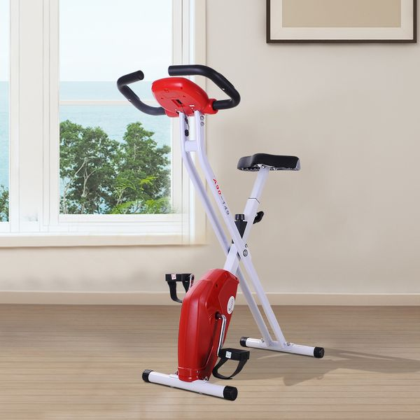 Soozier Foldable Exercise Bike w/ LCD Monitor Pulse Strength Training Indoor Upright Stationary Cycling Bicycle Trainer Cardio Workout Machine Red|Aosom Canada