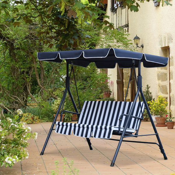 Outsunny 3 Seater Canopy Swing Chair Heavy Duty Outdoor Garden Bench with Sun Cover Metal Frame - Blue & White 3-person Porch | Aosom Canada