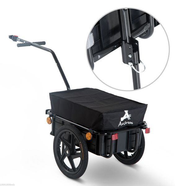 Aosom Luggage Cart Stroller Wagon with Double Wheel Internal Frame Enclosed Bicycle Cargo Trailer Multi-functional Steel Large Bike Luggage Cart Carrier Storage Runner For Shopping and travelling Black|Aosom Canada