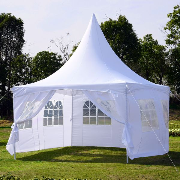 Outsunny 13x13ft Pagoda Party Tent with Removable Sidewalls Patio Wedding Canopy White | Aosom Canada