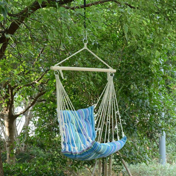 Outsunny Hanging Swing Chair Striped Air Hammock Outdoor Camping Garden Portable