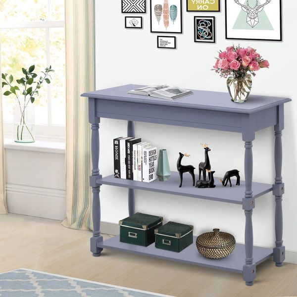 HOMCOM Entryway Wood Console Table with 2-tier of Shelves Hallway Furniture Grey|Aosom Canada