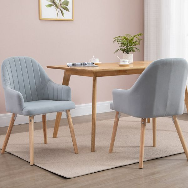 HOMCOM 2 Piece Set Velvet Style Dining Chair with Solid Rubber Legs Living Room Bedroom Modern Upholstered Seat Single   Aosom Canada