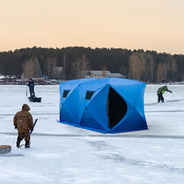 """Outsunny Pop-up Ice Shelter 142"""" x 71"""" 5-8 Person Outdoor Portable Insulated Fishing Tent   Aosom Canada"""