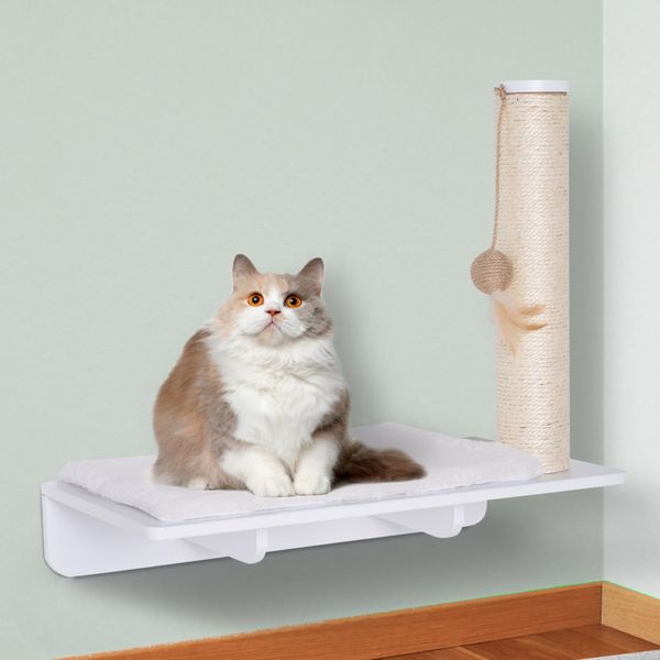 PawHut Wall-Mounted Cat Shelf W/ Scratching Post Toy Berber Fleece Mat Wood Kitten Climbing Tree | Aosom Canada