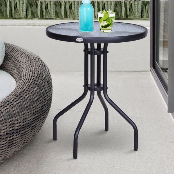 "Outsunny 24"" Patio Round Table Tempered Glass Top Outdoor Dining Steel Frame Backyard 