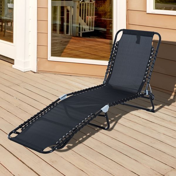 Outsunny 3-Position Portable Reclining Beach Chaise Lounge Adjustable Sleeping Bed