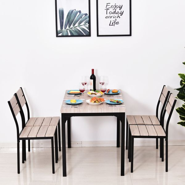 HOMCOM 5pcs Wooden Dining Set Industrial Style Wood and Metal Kitchen Table Set for 4 Chairs Modern and Sleek Dinette
