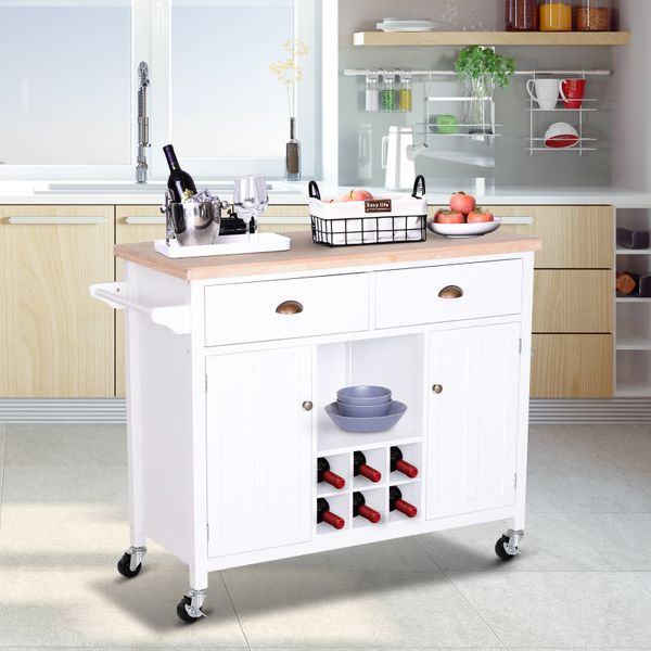 HOMCOM Kitchen Storage Trolley Cart Rolling Island Wood Cabinet w/ Towel Rack and Drawer White Wooden | Aosom Canada