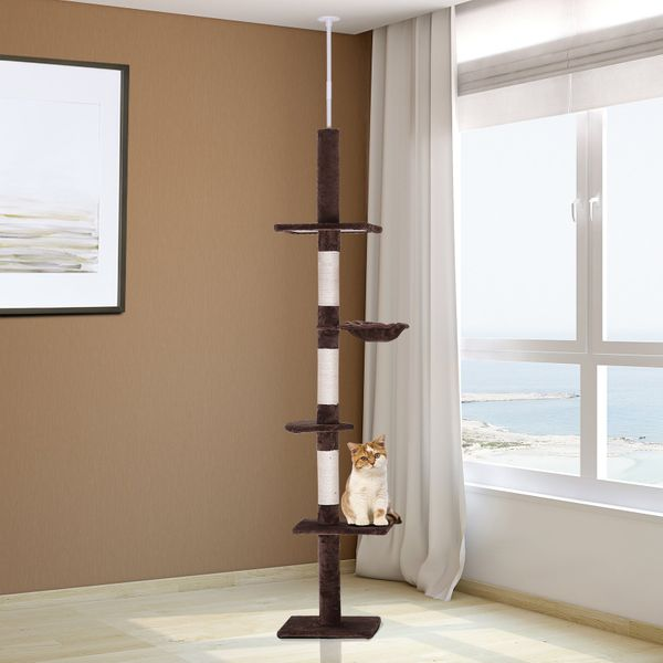 PawHut 8.5ft Cat Climbing Tree 5-Tier Kitty Activity Center with Scratching Post Brown and White