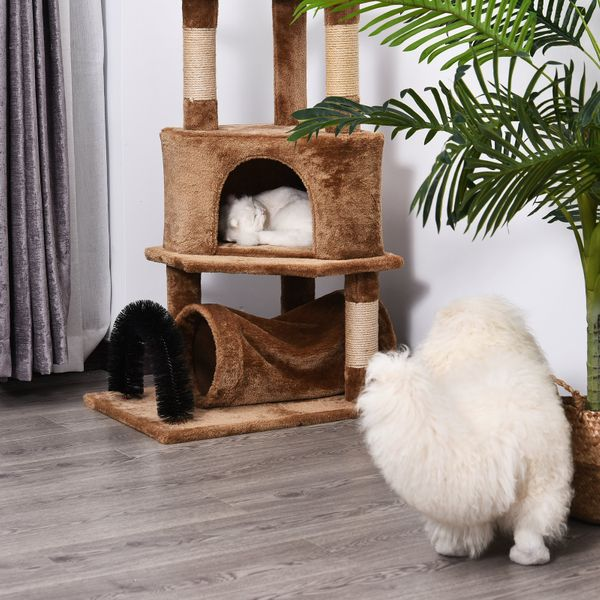 PawHut Cat Tree Tower with Natural Seaweed Scratch Posts Plush Perch  Ladder  Teasing Toy Ball and Fur Brush|AOSOM.CA