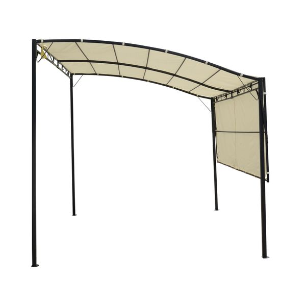 Outsunny Patio Metal Gazebo Wall Mount  Door Window Awning Outdoor Shelter- Cream White|AOSOM.CA