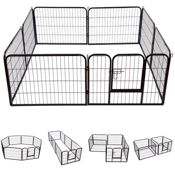"""PawHut 32"""" 8 Panel Cage Pet Playpen Octagon Rectangle Solid Heavy Duty Iron Indoor/Outdoor Dog Exercise Pen Cat Fence Black 