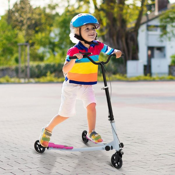 Qaba Kids 3 Wheels Scooter Foldable Child Tri Speeder Slider Swing Drifter Winged Push Motion Kickboard Height Adjustable for Age 8+ Pink Aosom Canada