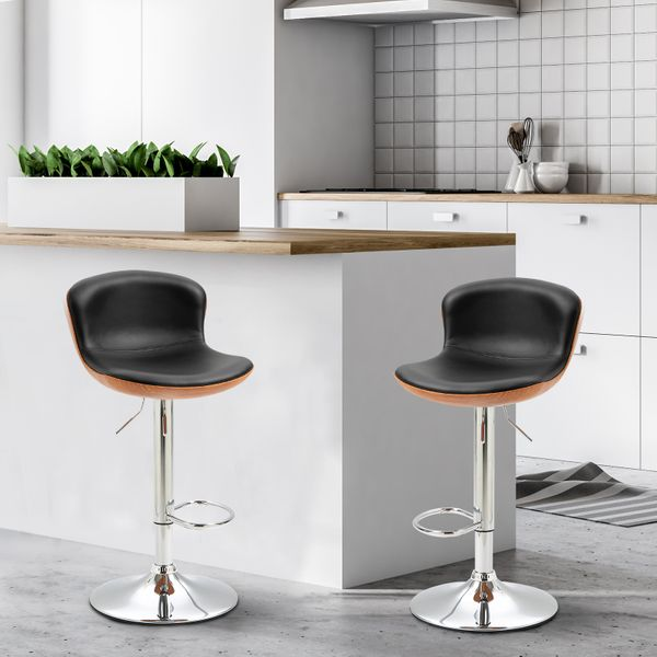 HOMCOM 2 Piece Modern Barstools with Backrest Counter Chairs with Footrest Swivel Black
