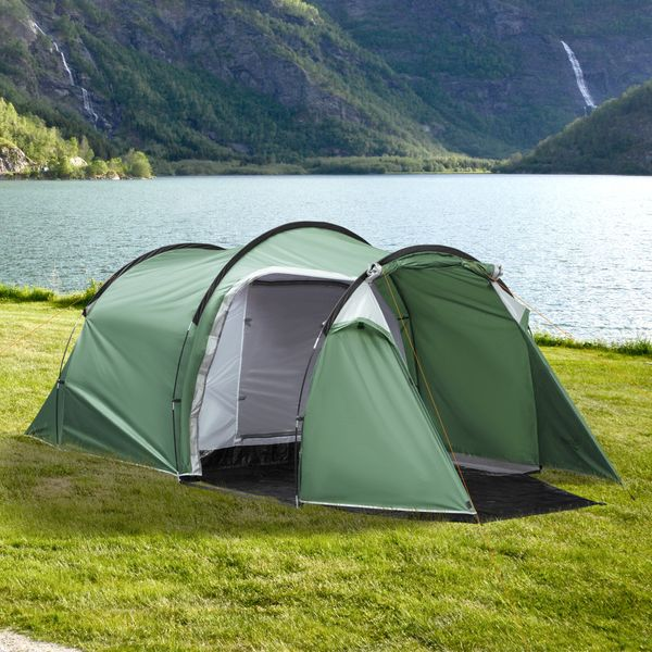 Outsunny Camping Dome Tent 2 Room for 3-4 Person with Weatherproof Screen Room Vestibule Backpacking Tent Lightweight for Fishing & Hiking Dark Green Compact w/ Mesh Vents | Aosom Canada