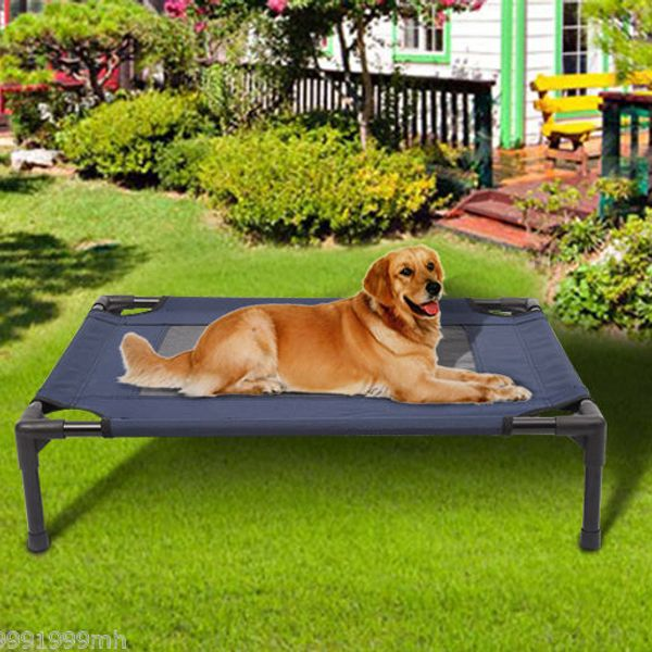 """PawHut 30"""" Elevated Mesh Pet Bed Dog Cat Cot Cozy Camping Beds Comfortable Cooling Camp Lounger Sleeper Blue / Black 
