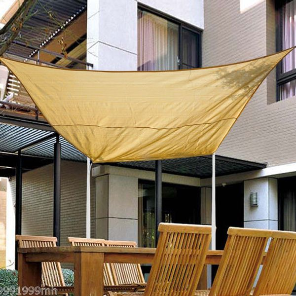 Outsunny Shade Sails 12' Square Sand Sun Sail Canopy Shelter Cover Patio Lawn UV Protector with Carrying Bag | Aosom Canada