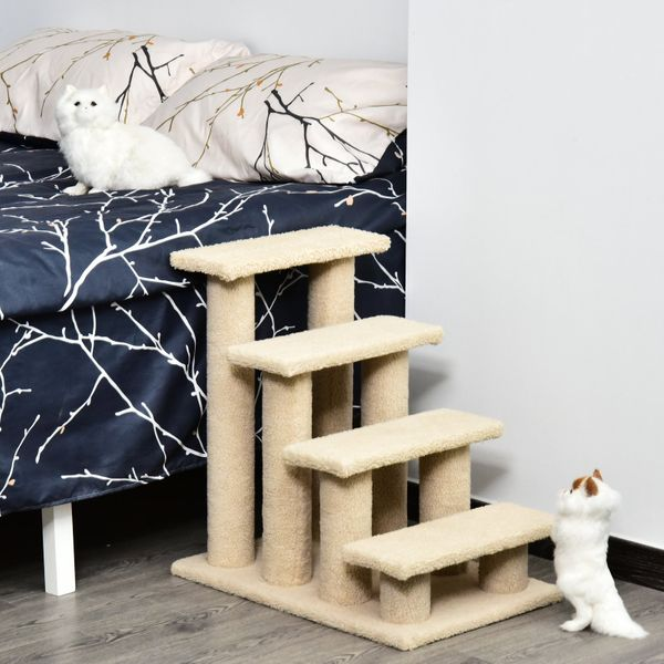 """Pawhut 24"""" Four Step Cat Tree Stairway Perch Multi-Level Pet Stairs Dog Scratch Post Furniture Climber Light Brown 
