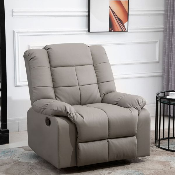 HOMCOM 8-Point Massage Recliner Sofa Chair, PU Leather Padded Chair with Remote Control, Grey
